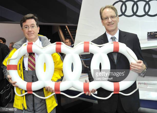 Television personality Stephen Colbert and President Audi America Johan de Nysschen attend the 2011 New York Auto Show kick off by Audi with surprise...