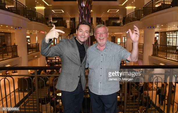 Television personality Stephen Mulhern and his father Christopher Mulhern on board PO Cruises ship Britannia on June 17 2018 in Southampton England...