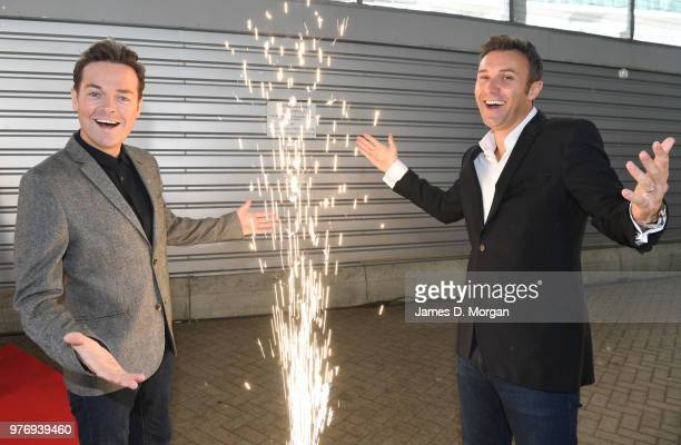 Television personality Stephen Mulhern and performer Jonathan Wilkes are joined by Nic and Eva Speakman at the Ocean Cruise Terminal on June 17 2018...