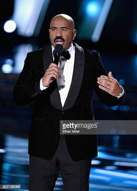Television personality Steve Harvey hosts the 2015 Miss Universe Pageant at The Axis at Planet Hollywood Resort Casino on December 20 2015 in Las...
