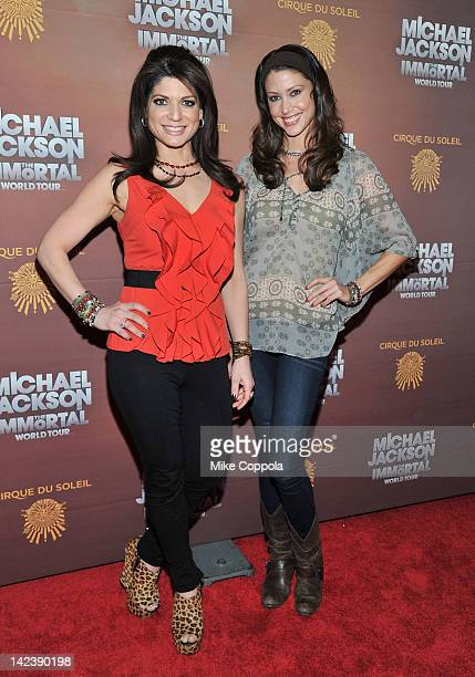 Television personality Tamsen Fadal and actress Shannon Elizabeth attends Michael Jackson THE IMMORTAL World Tour show by Cirque du Soleil at Madison...