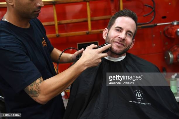 Television personality Tarek El Moussa and barber Javier Oregel attend the MOVEMBER Kickoff Event with Tarek El Moussa and Jason O'Mara at the Culver...