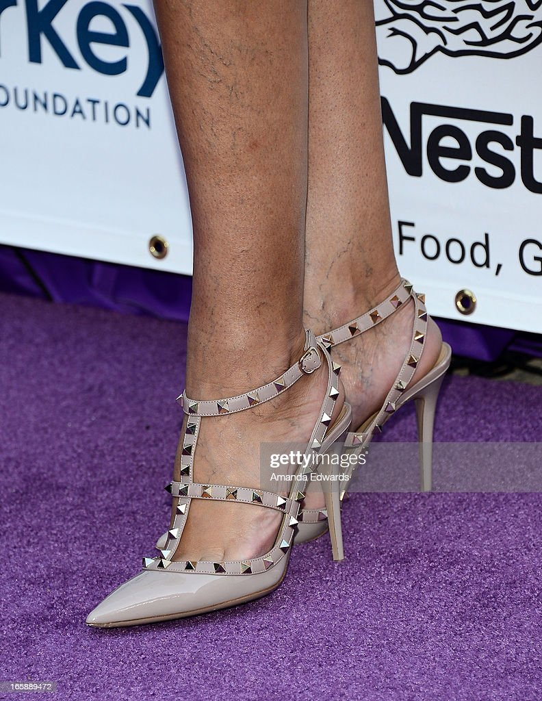Television personality Terri Seymour (shoe detail) arrives at the Jenesse Center's 2013 Silver Rose Gala & Auction at Vibiana on April 6, 2013 in Los Angeles, California.