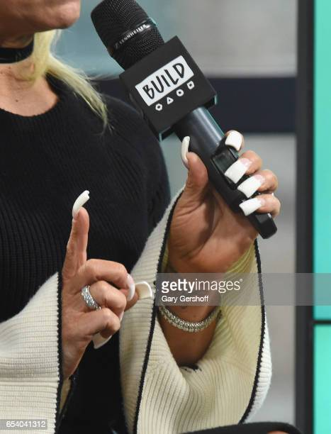 Television personality Theresa Caputo jewelry and nail detail attends the Build Series to discuss the reality series 'The Long Island Medium' at...