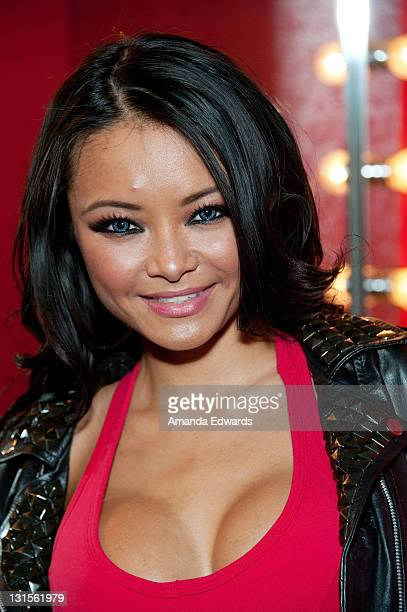 Television personality Tila Tequila poses backstage at the FilmOn 'Celebrity Fight Night' at Avalon on November 5 2011 in Hollywood California