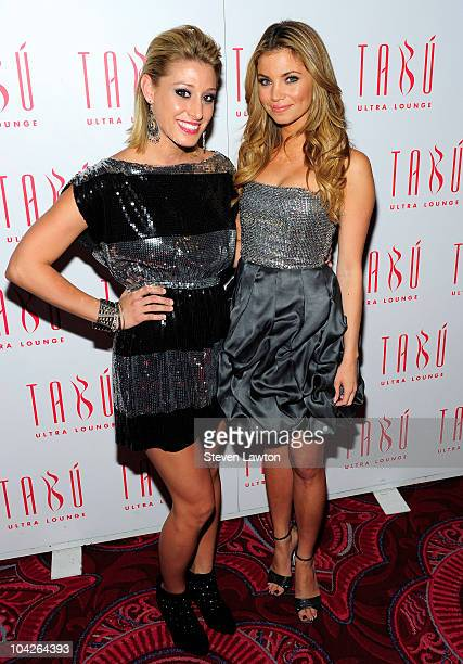 Television personality Vienna Girardi and actress Amber Lancaster arrive for Lancaster's birthday party at the Tabu Ultra Lounge at the MGM Grand...