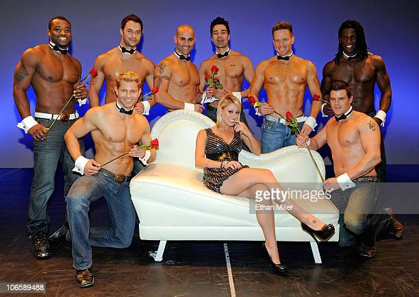 Television personality Vienna Girardi poses with Chippendales dancers Kenny King Jaymes Vaughan James Davis John Rivera Juan DeAngelo James Wilcox...