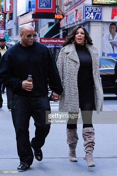 Television personality Wendy Williams and her husband Kevin Hunter leave the Celebrity Apprentice film set at Famiglia Restaurant on October 19 2010...