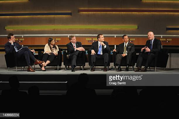 Television personality Willie Geist, Ashley Bunce, Steve Cahillane, Eric Greitens, Raul Perea-Henze, and Paul Rieckhoff speak at the Robin Hood...