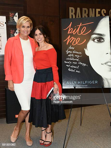Television personality Yolanda Hadid and Author Ally Hilfiger pose for portrait at Ally Hilfiger's book signing for 'Bite Me How Lyme Disease Stole...