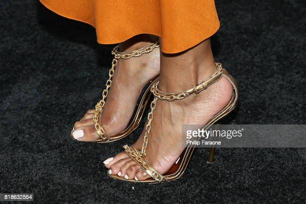 Television personality Zuri Hall shoe detail attends the Sports Illustrated Fashionable 50 at Avenue on July 18 2017 in Los Angeles California