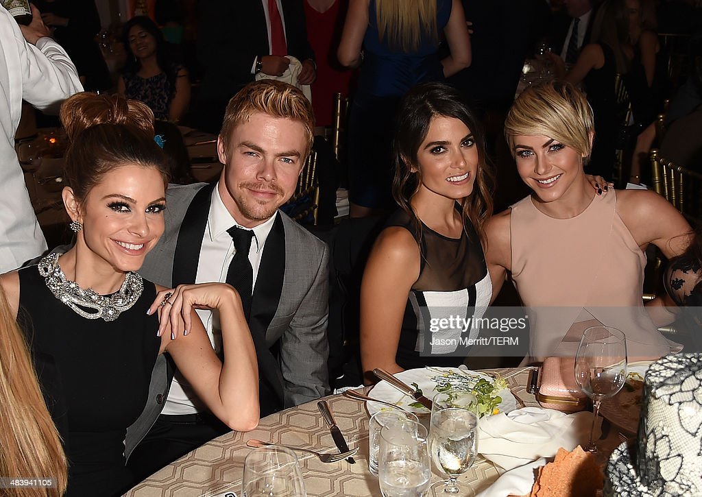 Television personality/actress Maria Menounos, actor/Dancer Derek Hough, actress Nikki Reed and actress Julianne Hough attend The Kaleidoscope Ball – Designing the Sweet Side of L.A. benefiting the UCLA Children's Discovery and Innovation Institute at Mattel Children's Hospital UCLA held at Beverly Hills Hotel on April 10, 2014 in Beverly Hills, California.