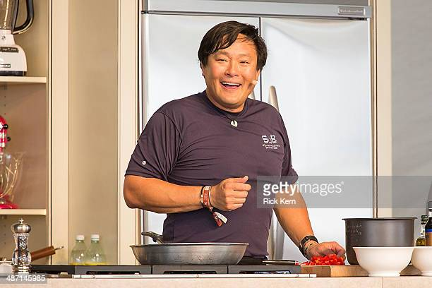 Television personality/chef Ming Tsai hosts 'Simply Ming in your Kitchen' during the third annual Austin FOOD WINE Festival at Butler Park on April...