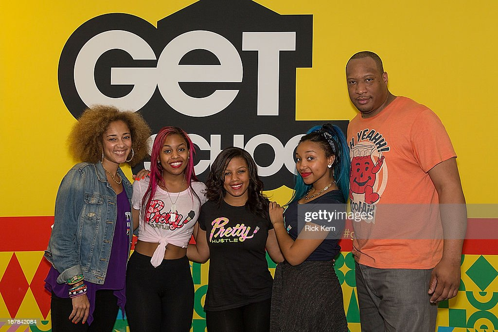 Television personality/host Amanda Seales, OMG Girlz Bahja Rodriguez aka Miss Beauty, Breaunna Womack aka Miss Babydoll, Zonnique Pullins aka Miss Star, and DJ Dallas Green pose during the OMG Girlz visit to Round Rock, Texas with the Get Schooled Victory Tour at Stony Point High School on April 30, 2013 in Round Rock, Texas.