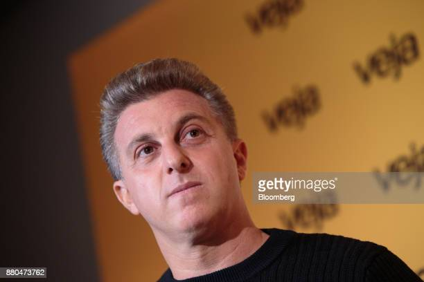 Television personalityLuciano Huck listens during the Veja Political Summit in Sao Paulo Brazil on Monday Nov 27 2017 Huck who had been gaining...