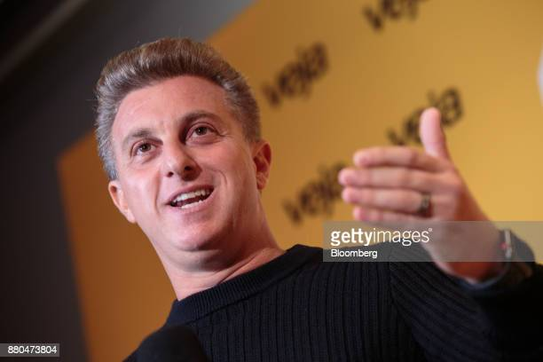 Television personalityLuciano Huck speaks during the Veja Political Summit in Sao Paulo Brazil on Monday Nov 27 2017 Huck who had been gaining...