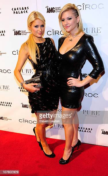 Television personality/model Paris Hilton and model Jennifer Rovero arrive to for a birthday bash for Jennifer Rovero at the Pure Nightclub at...