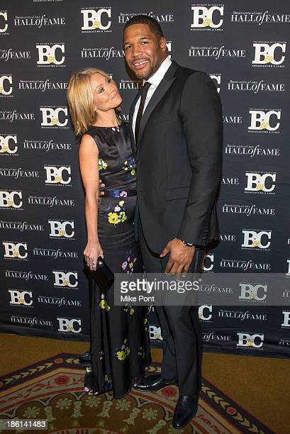 Television Personalitys Kelly Ripa and Michael Strahan attend the Broadcasting and Cable 23rd Annual Hall of Fame Awards Dinner at The Waldorf...