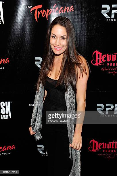 Television personality/WWE diva Brie Bella arrives for Headrush/Forgiven official after party at RPM Nightclub inside the Tropicana Las Vegas on...