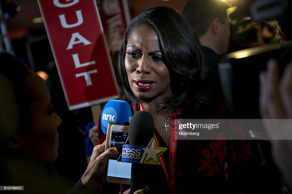 Television personlaity Omarose Manigault speaks to members of the media in the spin room after the second U.S. presidential debate at Washington University in St. Louis, Missouri, U.S., on Sunday, Oct. 9, 2016. Donald Trump and Hillary Clinton combined salacious charges about past sexual scandals with sober discussion of substantive topics during their second presidential debate Sunday night following a weekend of unprecedented crisis in the Republican nominee's campaign. Photographer: Andrew Harrer/Bloomberg via Getty Images