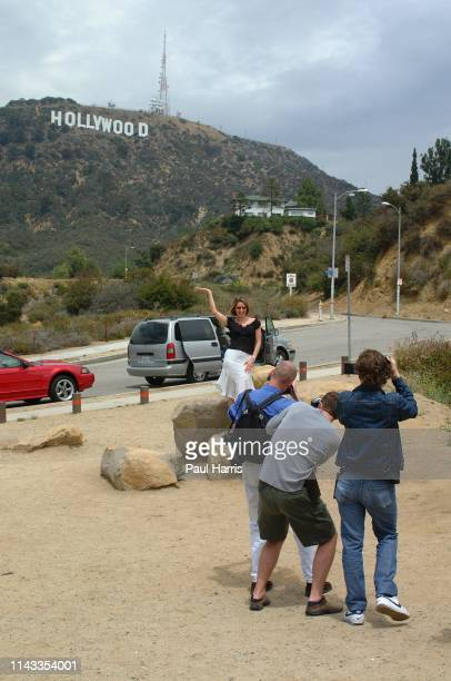 Television presenter actress and now pop star Claire Sweeney poses in the shadow of the Hollywood sign after the recording of her first album Claire...