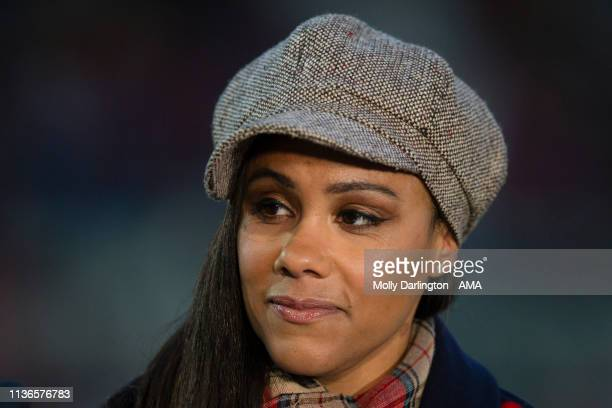 Television Presenter Alex Scott during the International Friendly between England Women and Spain Women at County Ground on April 9 2019 in Swindon...