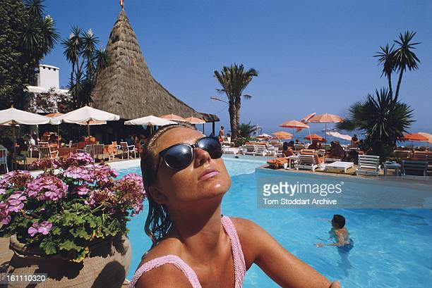 Television presenter Alison Macleod on holiday at the Marbella Club Marbella Spain 1989