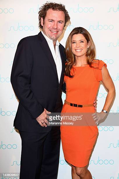 Television presenter Amber Sherlock poses with her husband Chris before the Suboo catwalk show on day five of MercedesBenz Fashion Week Australia...
