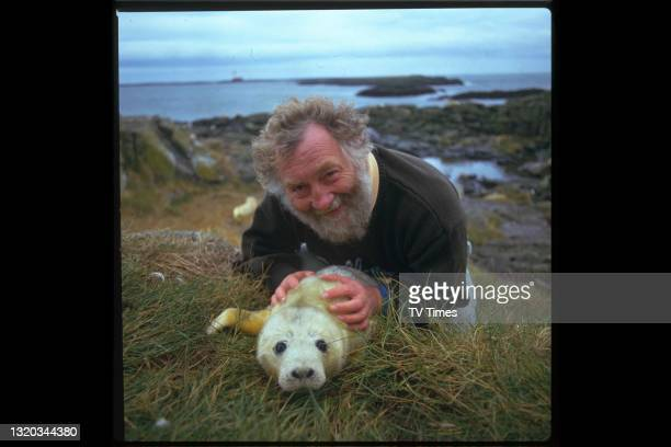 Television presenter and environmental campaigner David Bellamy photographed on the coast with a seal pup, circa 1987.