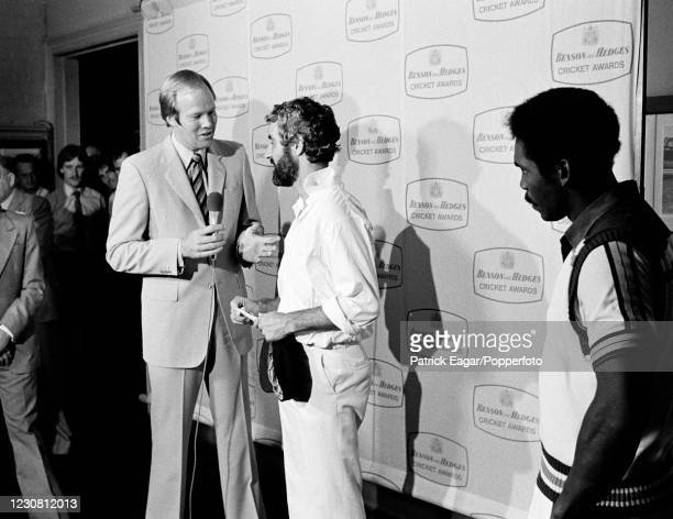 Television presenter and former England cricketer Tony Greig interviews England captain Mike Brearley during the presentation ceremony after the 2nd...
