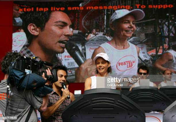 Television presenter Antonia Kidman takes part in The Foxtel Lap 2009 whereby teams of 20 compete to run or walk as many 100m laps for charity at...