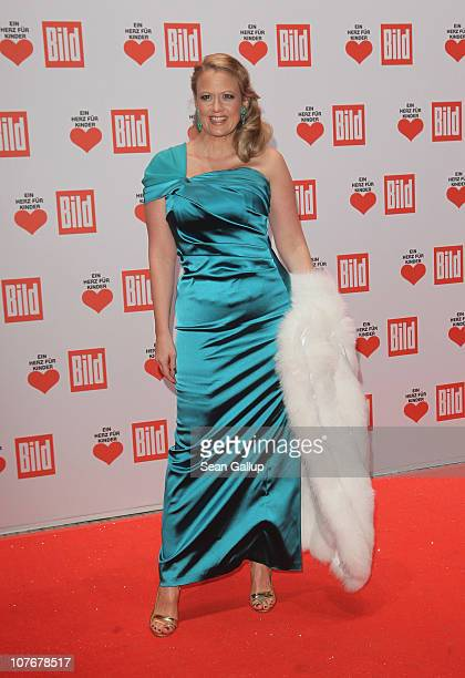 Television presenter Barbara Schoeneberger attends the 'Ein Herz Fuer Kinder' charity gala at Axel Springer Haus on December 18, 2010 in Berlin,...