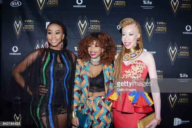 Television presenter Bontle Candice and Refilwe Modiselle during the DStv Mzansi Viewers Choice Awards event at the Sandton Convention Centre on...
