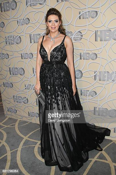 Television presenter Carly Steel arrives at HBO's Official Golden Globe Awards after party at the Circa 55 Restaurant on January 8 2017 in Los...