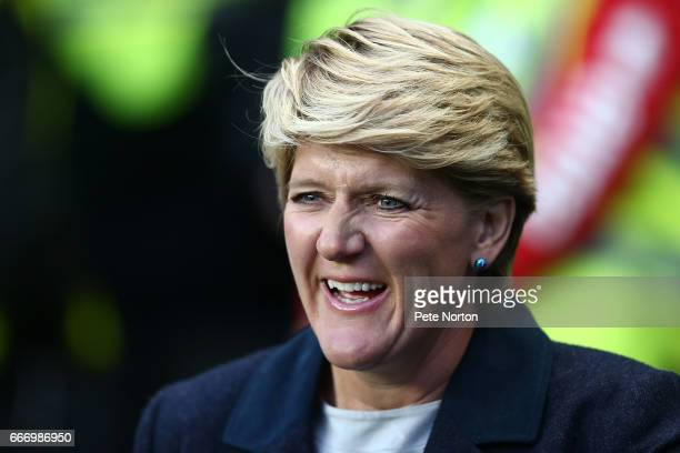 Television presenter Claire Balding looks on prior to the International Friendly match between England Women and Austria Women at Stadium mk on April...