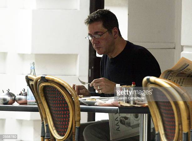 Television presenter Dale Winton enjoys his lunch on October 3 2003 in Central London