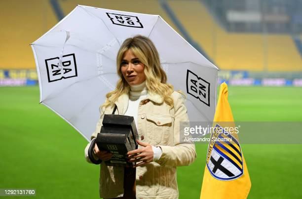 Television presenter Diletta Leotta prior to the Serie A match between Parma Calcio and Juventus at Stadio Ennio Tardini on December 19, 2020 in...