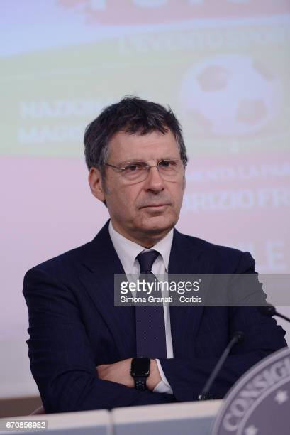 Television presenter Fabrizio Frizzi attends a press conference hosted by Under Secretary of State and Minister for Equal Opportunities Maria Elena...