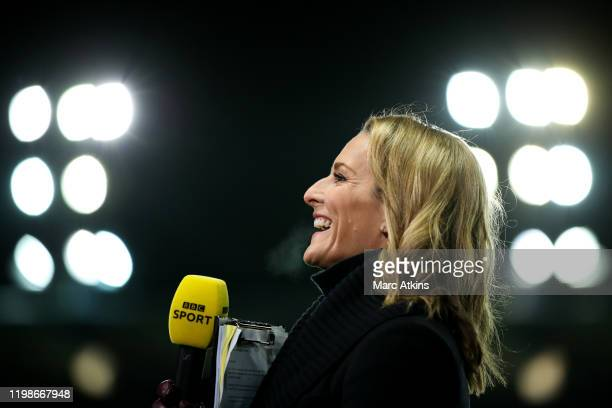 Television presenter Gabby Logan during the FA Cup Fourth Round Replay match between Oxford United and Newcastle United at Kassam Stadium on February...