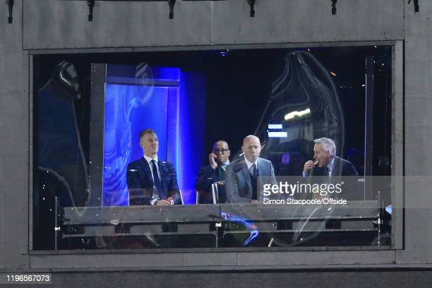 BBC television presenter Gary Lineker eats some Walkers crisps in the studio alongside pundits Joe Hart Ian Wright and Alan Shearer during the FA Cup...