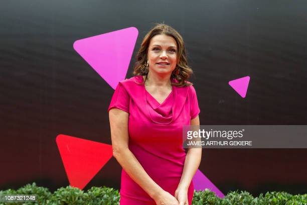 Television presenter Goedele Liekens pictured on the red carpet ahead of the recording of the '30 jaar VTM' show on the occasion of the 30th...