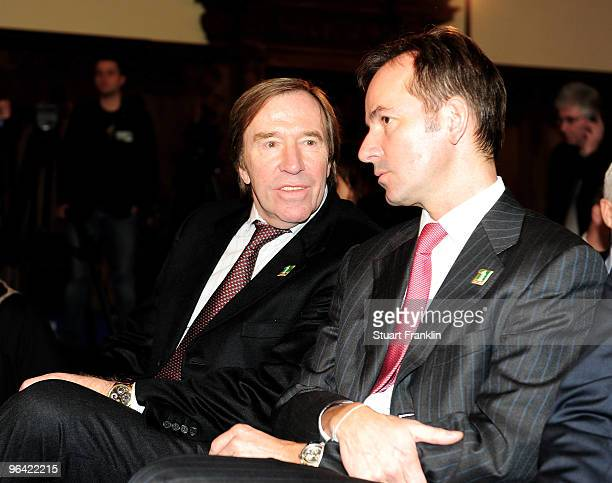 Television presenter Gunter Netzer talks with a guest during the celebration of the 111th year of SV Werder Bremen at the town hall on February 4...