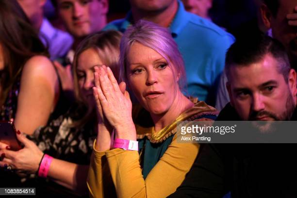 Television presenter Helen Chamberlain watches on during Day five of the 2018 William Hill World Darts Championship at Alexandra Palace on December...