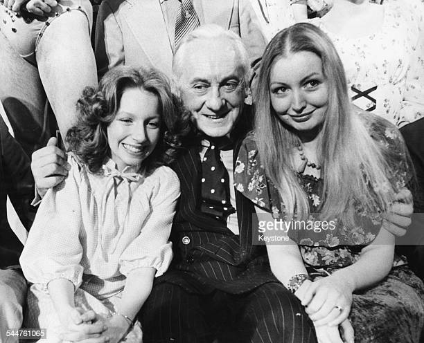 Television presenter Hughie Green with singers Lena Zavaroni and Mary Hopkin, on the 'Opportunity Knocks' talent show, London, March 21st 1978.
