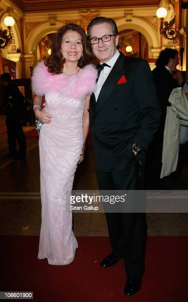 Television presenter Jan Hofer and his wife Conny Modauer attend the Sportpresseball 2010 at Alte Oper on November 6 2010 in Frankfurt am Main Germany