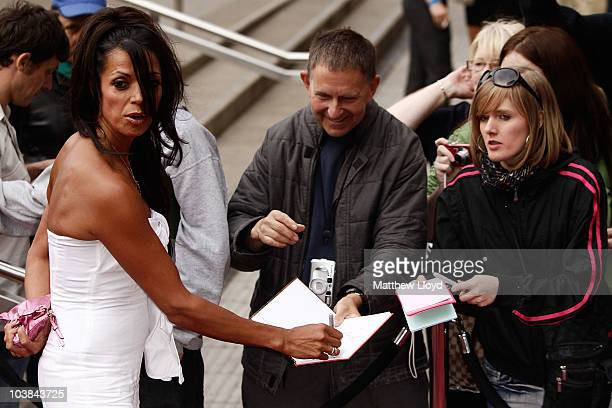 Television presenter Jenny Powell talks to fans as she arrives at the National Lottery Awards 2010 held at the Camden Roundhouse on September 4 2010...