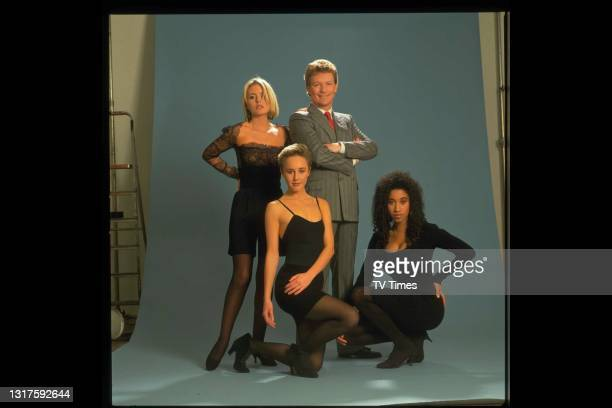 Television presenter Jim Davidson with actress Patsy Kensit and pop singers Pepsi & Shirley, photographed for the Jim Davidson Comedy Package, circa...