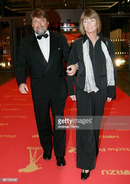 Television presenter Juergen von der Lippe and Anne Dohrenkamp arrive for the 'Goldene Kamera' Award on February 2 2006 in Berlin Germany