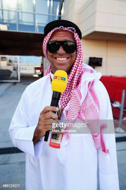 F1 television presenter Kai Ebel wears traditional dress before the Bahrain Formula One Grand Prix at the Bahrain International Circuit on April 6...