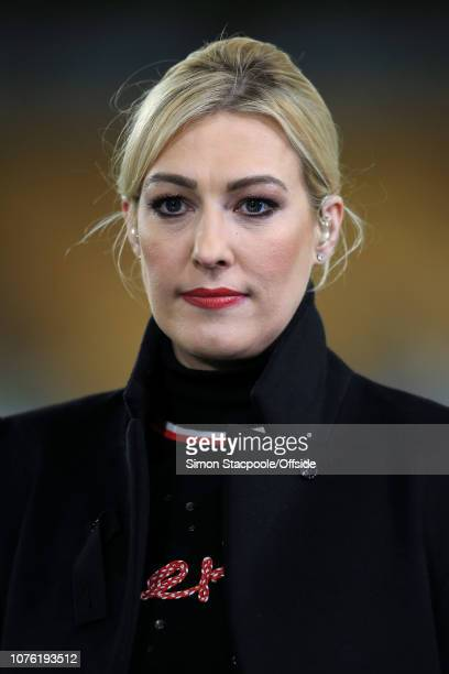Television presenter Kelly Cates looks on during the Premier League match between Wolverhampton Wanderers and Liverpool at Molineux on December 21...